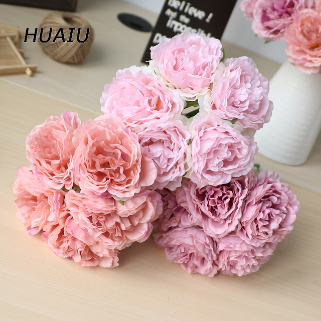 5 Heads Bunch Artificial Peony Flowers Silk Flower Bouquet Diy