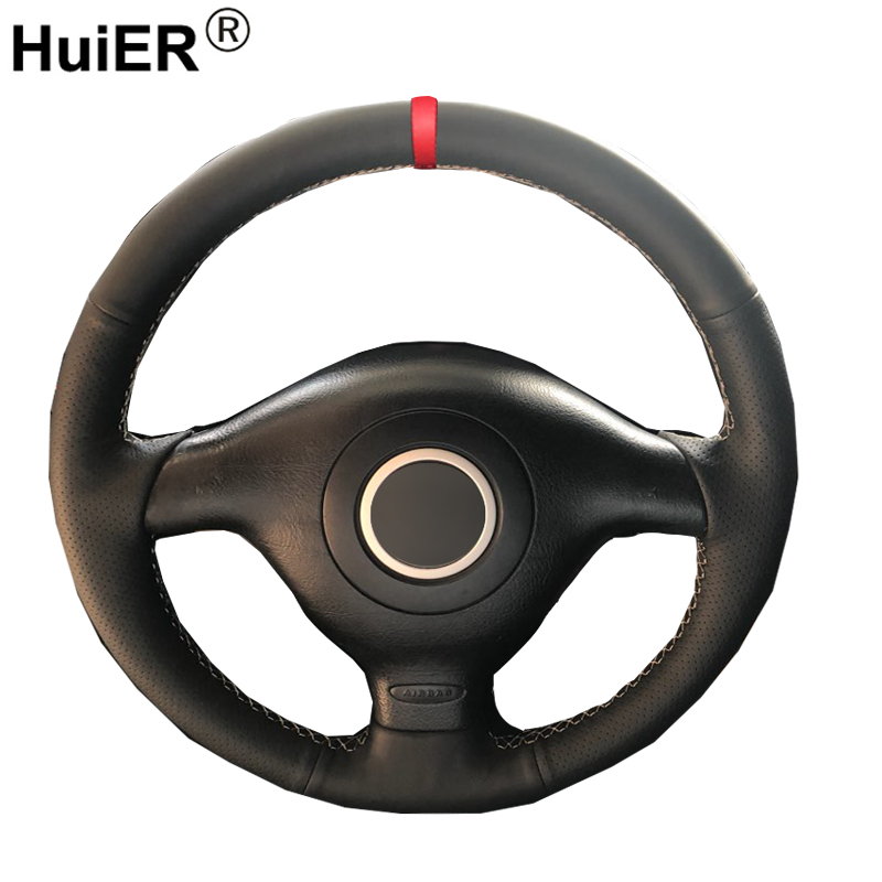 HuiER Hand Sewing Car Steering Wheel Cover Red Marker For Volkswagen VW Golf 4 Mk4 Passat B5 1996-2003 Seat Leon 1999-2004 Polo image