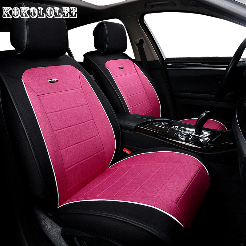 KOKOLOLEE Universal auto linen Car seat cover For Ford Fushion Focus Fiesta Edge Explore automobiles car accessories car-styling pu leather automotive universal car seat covers t shit fit seat cover accessories for kia aio ford focus 2 lada granta toyota