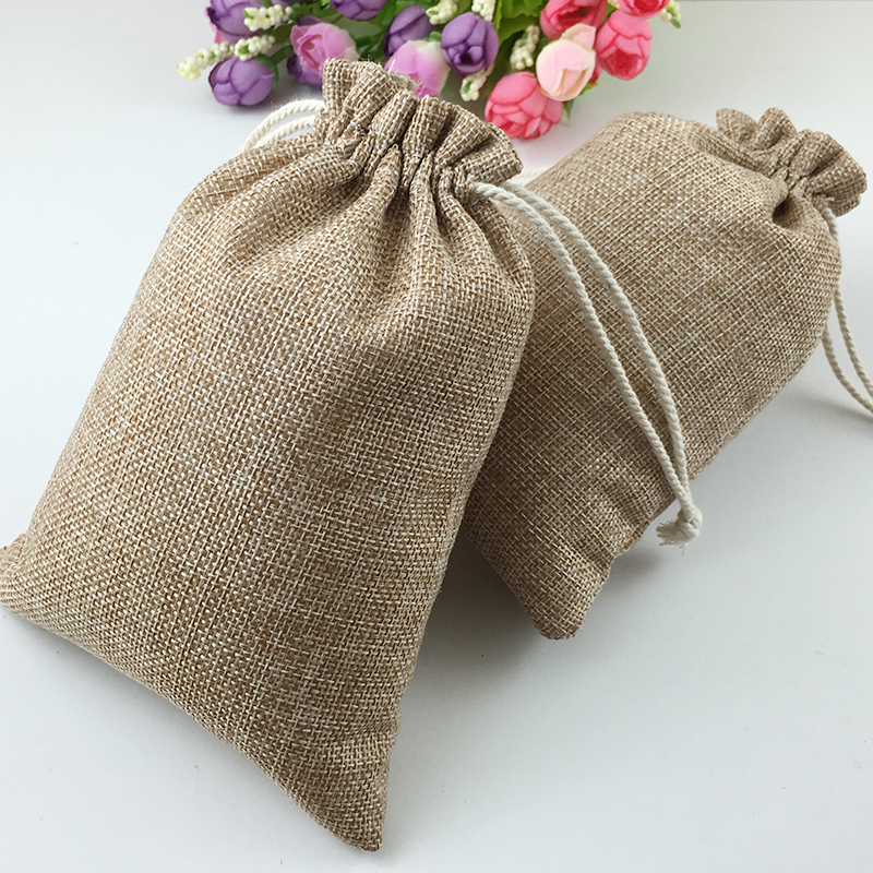 15x20cm 50pcs cotton drawstring bag jute bags small bags for women ...