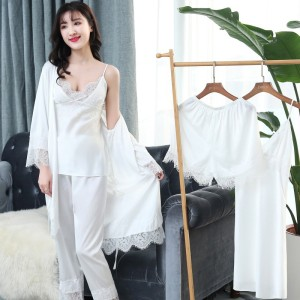 Image 4 - Women Pajamas Sets 5 Pieces Satin Sleepwear Pijama Silk Home Wear Home Clothing Sleep Lounge Pyjama With Chest Pads