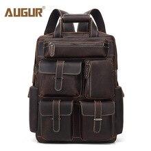 AUGUR New Men Genuine Leather Backpack Vintage Designer Bag Backpacks Large Capacity Backbag Bagpack Travel Laptop Backpack Men