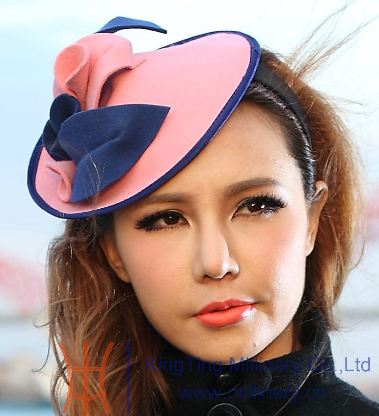 Free Shipping Women Pink Fascinator Handmade Wool Hair Fascinators Flower Girl Hair Accessories Fashion Elegant free shipping high quality 2015 mini disc flower sinamay fascinator with feather for race