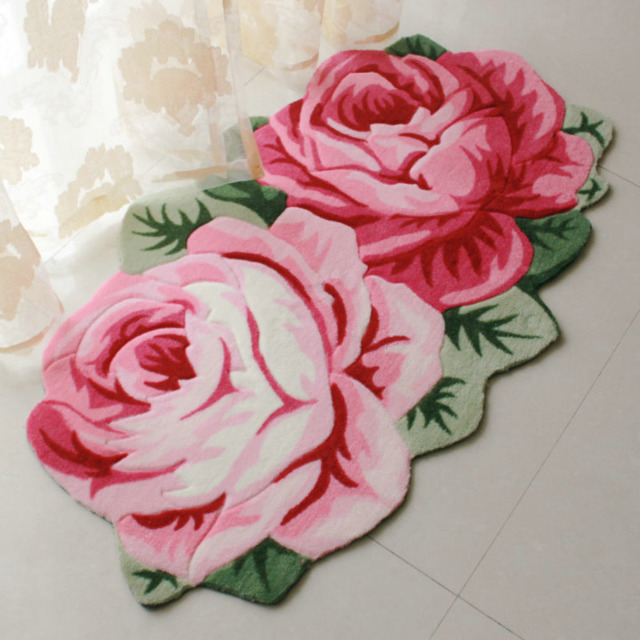 Rose Flower Shaped Rugs And Carpets Large Area Rug For Living Room Sofa Window Gy Decorative