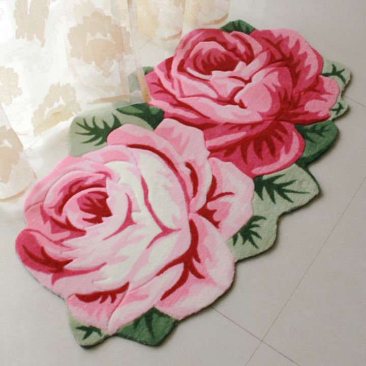 Rose Flower Shaped Rugs And Carpets Large Area Rug For Living Room Sofa Window Shaggy Decorative Carpet Bedroom Bedside Mat