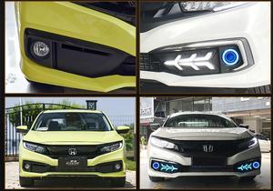 Image 5 - 1set 2019~2020y car bumper head light for Honda Civic fog light car accessories LED DRL headlight for Civic projector lens light