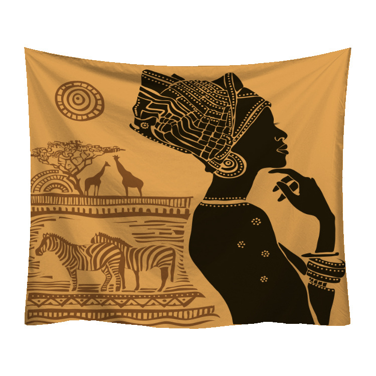 Tenture murale africaine femme zebres