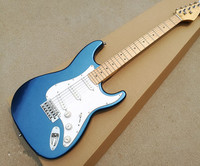 Blue electric guitar and 3 pickup cards, white guard board, maple cardboard, provide cutting, free delivery.