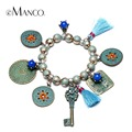eManco Ethnic Bohemia Tassel Round Charms Bracelets & Bangles for Women Blue Beads Alloy Ancient Bronze Plated Brand Jewelry