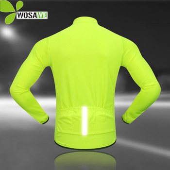 WOSAWE Reflective Cycling Jerseys Men Long Sleeve Maillot Downhill Bicycle Clothing Ropa Ciclismo Shirts Tight Bike MTB Jersey