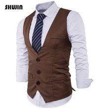 Мужской облегающий костюм с жилетом, однорядный, с тремя пуговицами, с отворотами, однотонный, мужской жилет, SHUJIN FF