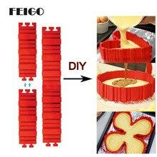 FEIGO 4 шт./компл. головоломка Сделай сам! Силиконовые формы хлеб торт сковорода силиконовые формы для выпечки Magic пирожных мульти Стиль силиконовые формы для выпечки инструмент F823
