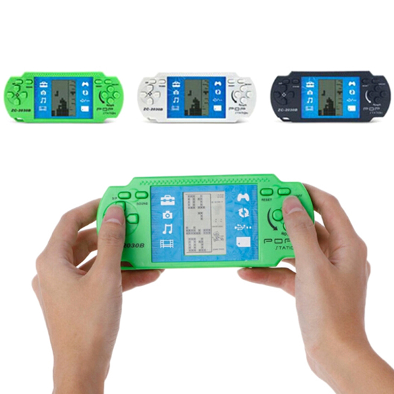Kids Portable Classic Tetris Hand Held LCD Game Toys Fun Brick Game Riddle Handheld Game Console Random Color