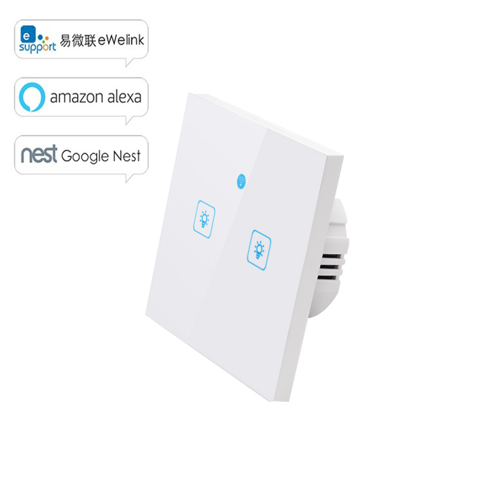 Ewelink Touch Switch Wifi 2.4G Smart Home Touch Switch Wall Panel EU /UK Standard Smart Led Wifi Control Alexa-in Home Automation Modules from Consumer Electronics