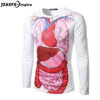 Men 3D Long Sleeve T Shirt O Neck Brand New Male Print Internal Organs T Shirt