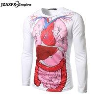 Men 3D Long Sleeve T Shirt O Neck Brand New Male Print Internal Organs T Shirt