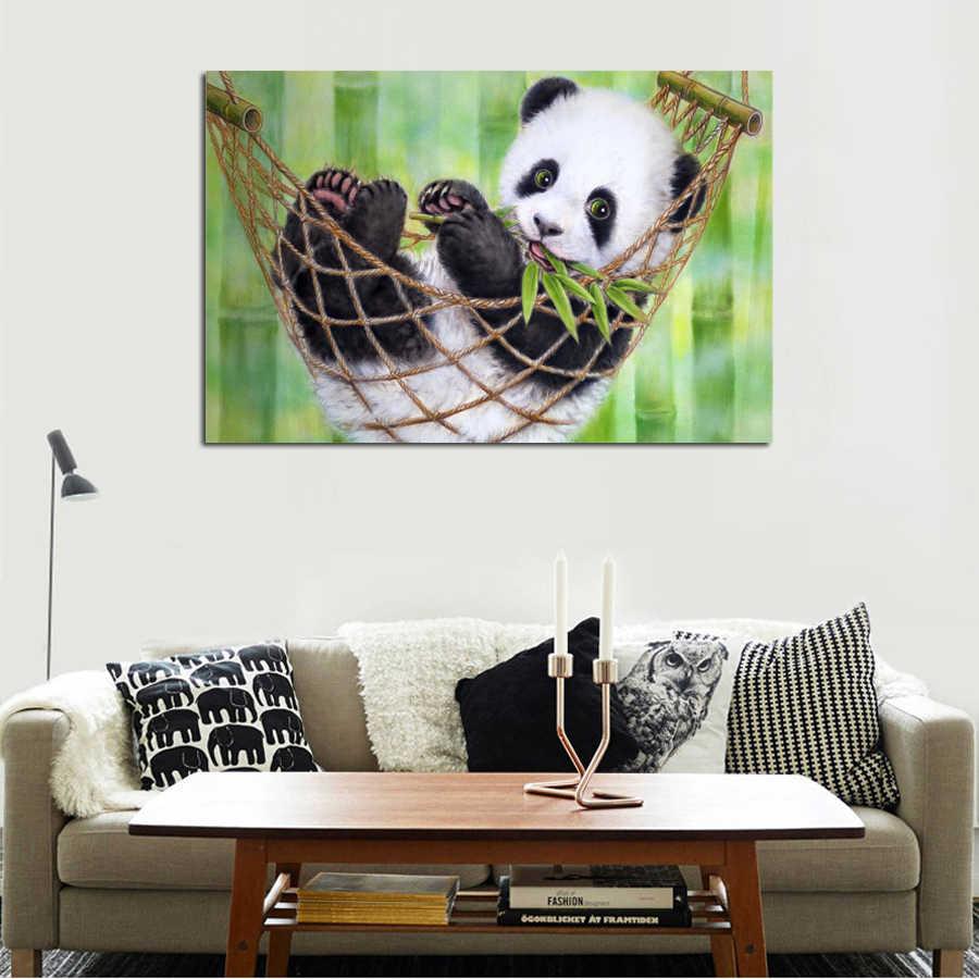 1ピースパンダ動物ラブリーホットウォールアートピクチャーホーム装飾リビングルームのキャンバスプリント壁絵用キッドルーム