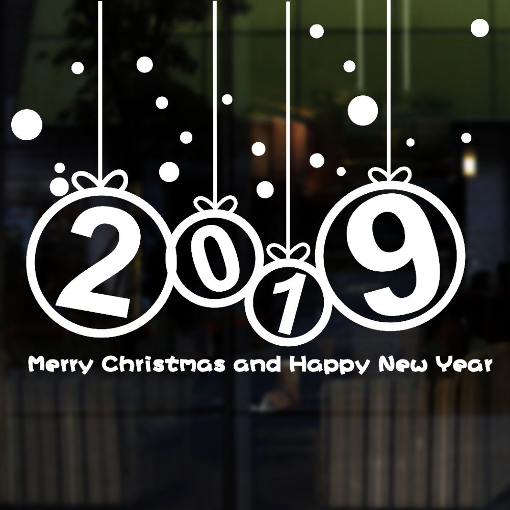 New Year Merry Christmas Sticker 2019 Merry Christmas Wall Sticker Home Shop Windows Decals Decor Dropshipping 1437