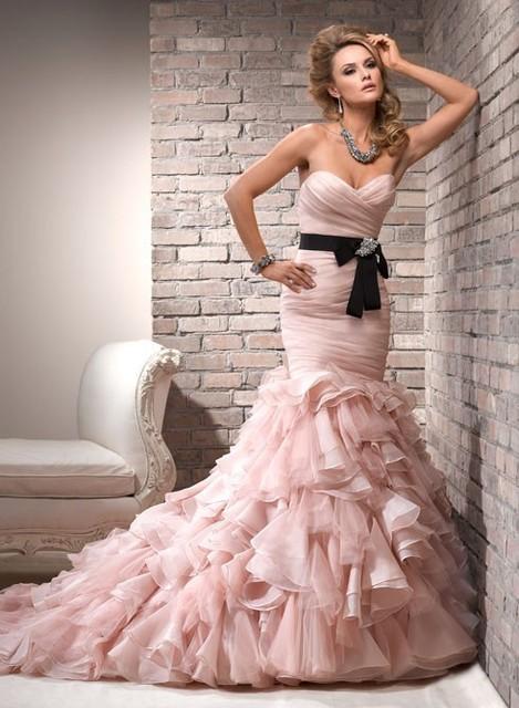 0066 Sexy Fishtail Strapless Sweetheart Mermaid Pink Wedding Dress