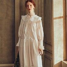 Lady Spring Summer Sleepwear Nightdress Elegant Cotton Princess Women Nightgown Long Sleeve European Medieval Retro Style Dres