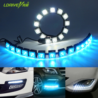 2Pcs Lot Car COB DRL Driving Fog Light Flexible Daytime Running Light For Honda Toyota Hyundai