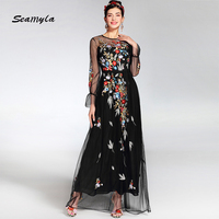 2017 New Fashion Runway Maxi Dress Women S Elegant Long Sleeve Tulle Floral Embroidery Party Dresses