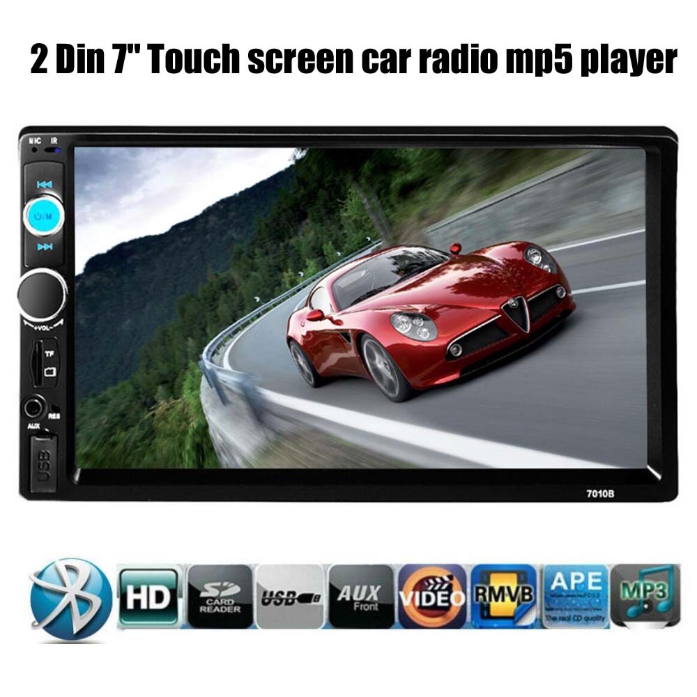 Car Stereo Bluetooth Radio HD 7 INCH 2 DIN Touch Screen Handsfree TF/USB/AUX MP4/MP5 Support Rear View Camera Player Head Unit 2 din support rear camera car bluetooth gps 7 inch radio touch screen stereo mp4 mp5 player usb 8g map card selection