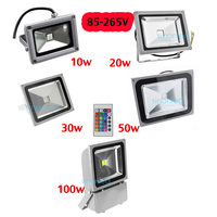 85-265 V 10 W 20 W 30 W 50 W 100 W LED RGB Taşkın işık Projektör yağmur geçirmez Su Geçirmez Kırmızı/Yeşil/Mavi/Sıcak/Soğuk/Beyaz 24 anahtar IR ile