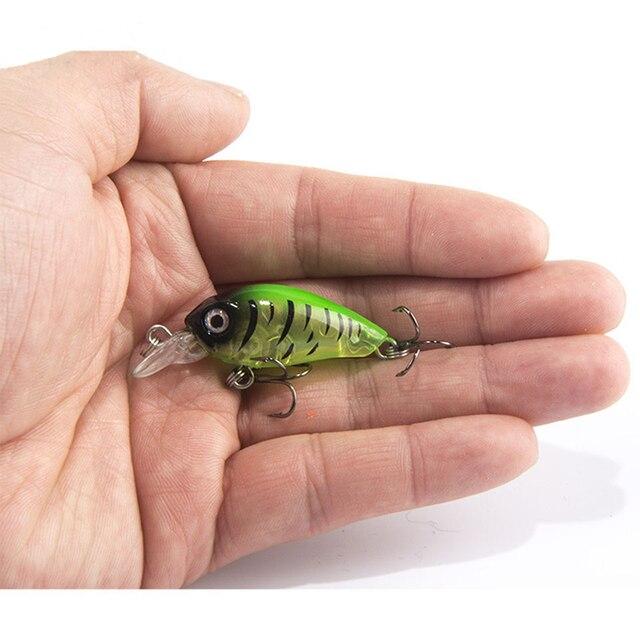 1 ชิ้น 4 เซนติเมตร 4.5 กรัมว่ายน้ำปลาตกปลาเหยื่อประดิษฐ์ Hard Crank เหยื่อ topwater Wobbler ญี่ปุ่น Mini Fishing Crankbait ล่อ