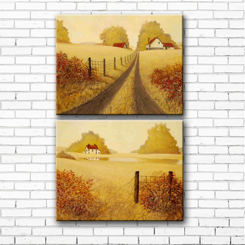 classical golden wheat fields house landscape canvas printings oil painting printed on canvas home wall art decoration picture