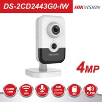 Hikvision New Video Surveillance Wi Fi Camera PoE DS 2CD2443G0 IW 4MP IR Fixed Cube Wireless IP Camera Built in Speaker H.265+