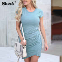 Missufe 29 Colors Sexy O Neck Bodycon Skinny Irregular Dress Cross Wrinkle Vestidos Summer Casual Mini Ruched Womens 2018