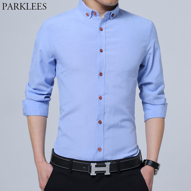 Sky Blue Oxford Button Down Shirt Men 2019 Spring New Slim Fit Long Sleeve Mens Dress Shirts Non Iron Formal Business Camisas