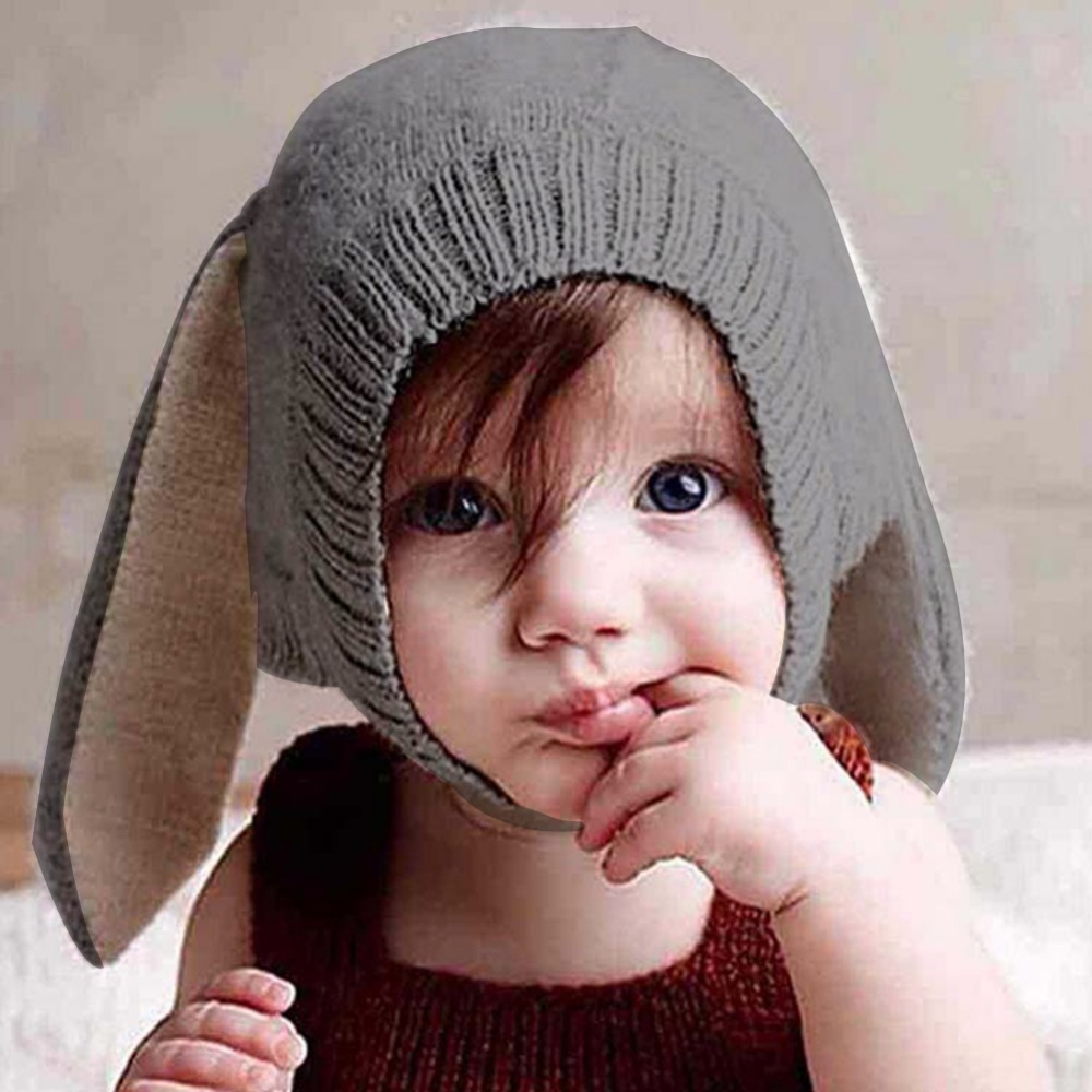 Hats Beanie-Caps Photo-Props Bunny Knitted Rabbit-Ears Warm Woolen Toddler Newborn Soft
