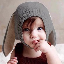 880e6712134 Rabbit Ears Baby Hats Soft Warm Hats Cute Toddler Kids Knitted Woolen Bunny  Beanie Caps For Unisex Baby 0-3Y Newborn Photo Props
