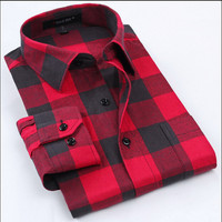 Flannel Men Shirts 2015 New Non Iron Luxury Slim Fit Long Sleeve Brand Formal Business Fashion