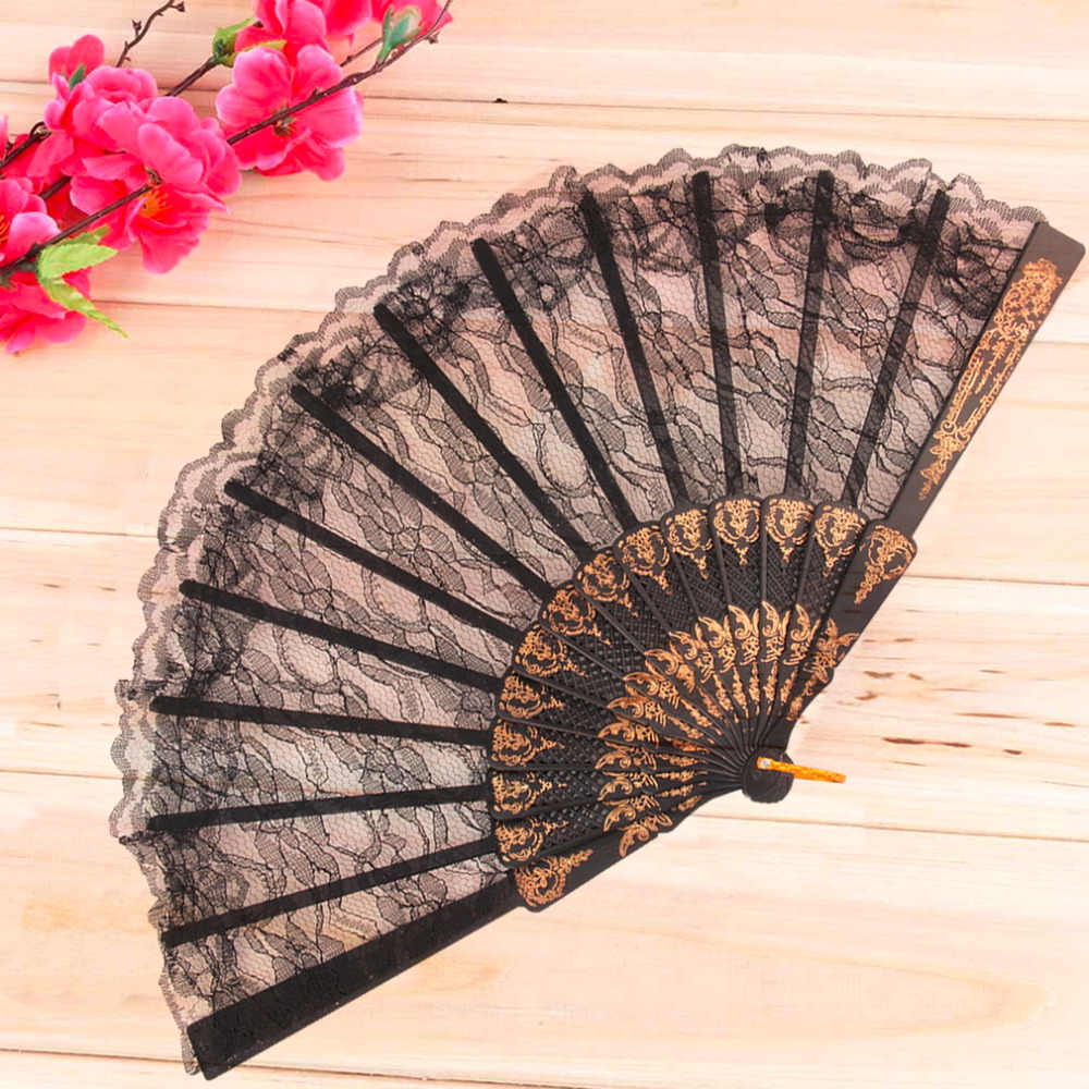 Worldwide 1pcs Vintage Fancy Dress Costume Chinese Costume Party Wedding Dancing Folding Lace Hand Fan Black