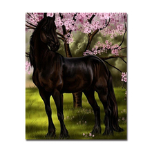 Framed Fashion Digital By Numbers DIY Oil Modern Dark Horse Peach Blossom Wall Art Popular Pictures For Home Decor Painting