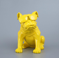 Resin French Bulldog Dog Figurines Vintage Home Decor Crafts Room Decoration Objects Lucky Dog Ornament Resin Animal Figurines