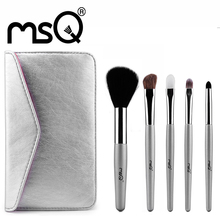 MSQ 5pcs Mini Makeup Brush Set For Travel Soft Synthetic&Animal Hair With Silver PU Leather Pouch