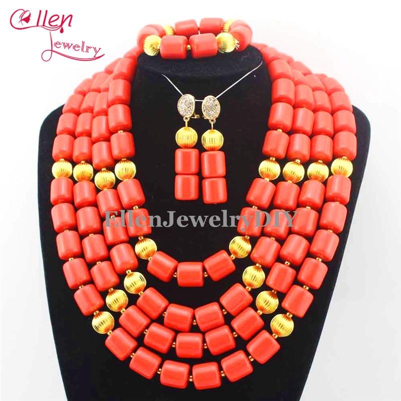 Afrički koraljni perle nakit set Nigerijske perle vjenčanice Nakit - Modni nakit - Foto 5