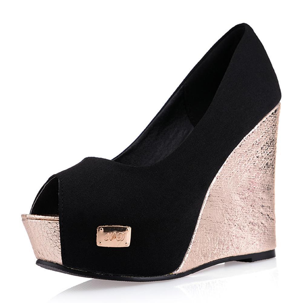 Cm Primavera Boda Zapatos Super 11 2018 Mujeres 5 Fiesta Bombas Cuñas  Plataforma Mujer rojo Nueva Alto Negro Elegante Sexy Moda Superficial Negro  Tacón ... e444d902dc7