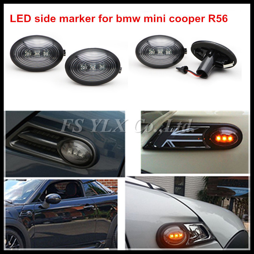 2pcs/lot LED Side Marker lights for BMW Mini COOPER R56 LED SideTurn Signal Lamp car turning light for Mini R56 smoked  Amber набор приспособлений для обслуживания грм двигателя bmw n12 mini cooper jonnesway al010079
