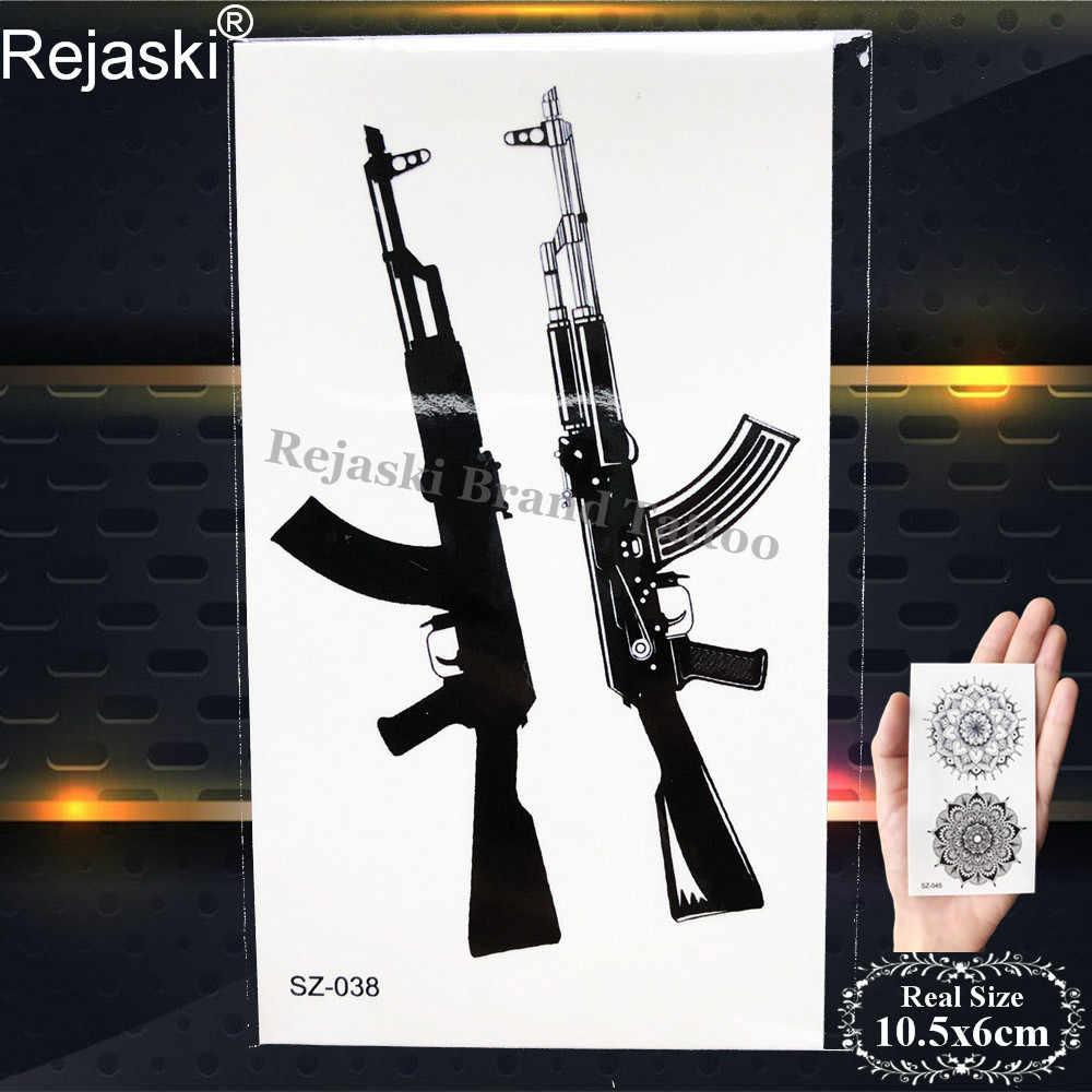 Medan Pertempuran Pubg Hitam Gun Stiker Tato Sementara Wanita Tubuh Lengan Tahan Air Tato Pria AK Tentara Palsu DIY Tato Senjata AWM