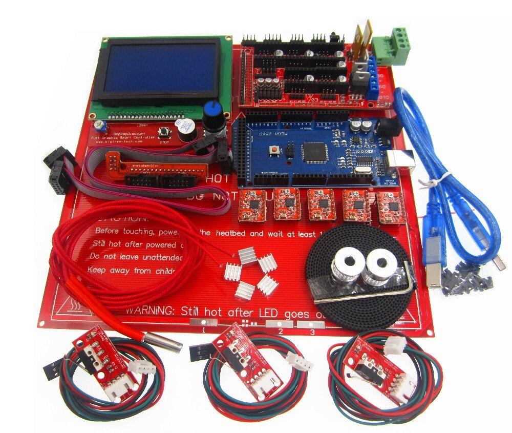 Kit imprimante 3D Kit rampes 1.4 carte + écran LCD 12864 + lit thermique MK2B + pilote moteur A4988 + contrôleur