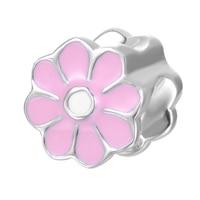 Różowy kwiat emalia wzór DIY charm 2017 projekt 925 Sterling Silver charm perełek dla bransoletka i naszyjnik
