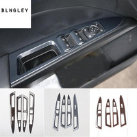 4pcs/lot ABS carbon fiber grain or wooden grain car window lift panel decoration cover for 2013 2016 Ford Mondeo