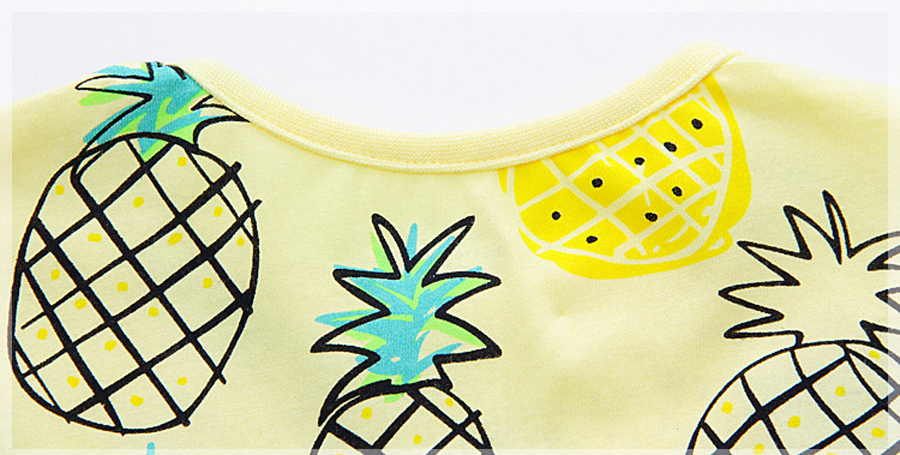 little maven 1-6year cotton party dresses yellow print pineapple little girls dresses o-neck girls dress for children clothing 8