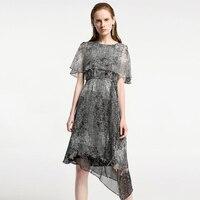 2019 новые шелковые платья Летние черные белые женский Печатный принт шелковое платье Длинные высокого качества повседневные Элегантные обо