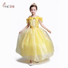 MUABABY Girls Belle Costume Little Girl Dress up Summer Princess Party Dress Children Kids Cotton Beauty Ball Gown Cosplay
